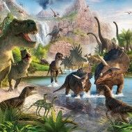 Fototapet Lumea Dinozaurilor (Dinosaur Land) O lume pierduta. Si redescoperita! Dinozauri cum n-ai mai vazut! Poti sa supravietuiesti in preajma lor? Niciodata peretii camerei copilului nu au aratat mai bine! In culori vii, tapetul creaza o lume magica pentru copii. Interactiv si educational, tapetul ofera posibilitatea copiilor de a identifica personaje, animale, obiecte si culori precum si de a numara, cauta si visa…