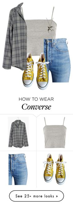 """""""Untitled #1086"""" by royalcouncil on Polyvore featuring Topshop, RE/DONE, Converse, Madewell and Origami Jewellery"""