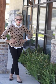 Classy Confessions: Love the polka dot sweater with the button up