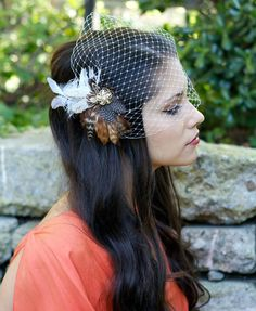 Bridal Head Piece, Brown Feather Fascinator, Ivory, Guinea, Tan, Gold, Vintage Rhinestone, Fall Wedding - Made to Order - MICHELLE. $50.00, via Etsy.
