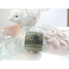 Necklace green square glass lampwork bead, crystals, bead by Friskey... ($29) ❤ liked on Polyvore featuring jewelry, necklaces, swarovski crystal beads necklace, green beads necklace, swarovski crystal jewelry, glass bead necklaces and chain necklace