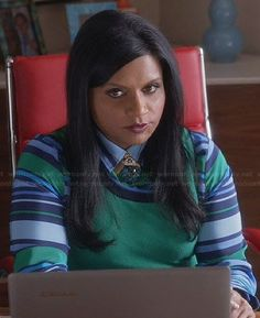 Mindy's blue and green striped shirt on The Mindy Project.  Outfit Details: https://wornontv.net/31145/ #TheMindyProject