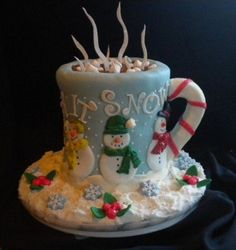Mug of Christmas cocoa cake