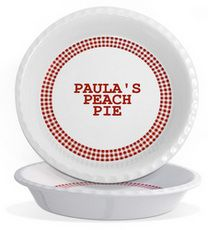 Personalized Pottery Red Gingham Traditional Pie Plate #StationeryStudio