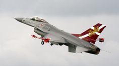 Danish air force General Dynamics F 16 Falcon demo aircraft.