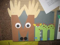 """""""Mm"""" Letter of the week art project ~ Moose and monster {note to self: monkey… Preschool Letter M, Letter M Activities, Alphabet Letter Crafts, Abc Crafts, Preschool Activities, Alphabet Book, Letter Art, Preschool Projects, Art Projects"""