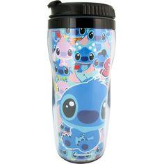 Blue Stitch Travel Coffee Mug Lilo and Stitch Coffee Mug ($11) ❤ liked on Polyvore