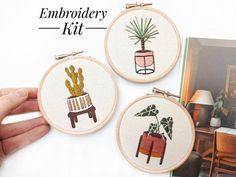 Beginner Embroidery Kit The Mini Series Modern Embroidery Diy Embroidery Kit, Embroidery For Beginners, Embroidery Patterns, Pdf Patterns, Contemporary Embroidery, Modern Embroidery, Craft Kits, Diy Kits, Craft Projects
