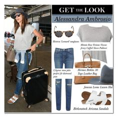 """Get the Look: Celebrity Airport Style"" by ellize-back ❤ liked on Polyvore featuring Minnie Rose, Hermès, Birkenstock, Illesteva and Janessa Leone"