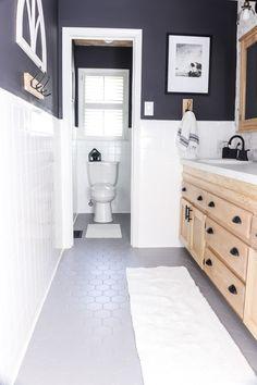 Cheap Bathroom Makeover, Diy Bathroom, Modern Bathroom, Small Bathroom, Bathroom Makeovers, Bathroom Hardware, Painting Bathroom Tiles, Painted Bathroom Floors, Cheap Bathrooms