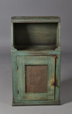 American Tin & Painted Wood Hanging Cupboard For the Home,Furniture,primitive,