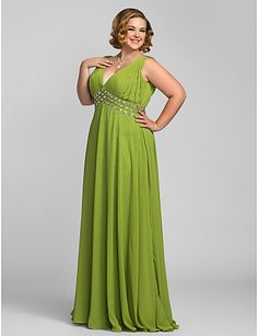 Plus Size A-line V-neck Floor-length Chiffon Evening/Prom Dress – USD $ 139.99