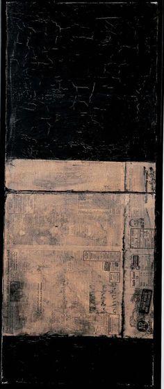 Robert Rauschenberg, Untitled [matte black painting with Asheville Citizen] c. 1952
