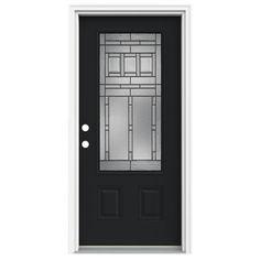 ReliaBilt 3/4 Lite Decorative Peppercorn Prehung Inswing Fiberglass Entry  Door (Common: 32 In X 80 In; Actual: 33.5 In X 81.75 In)