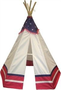 The American Flag Themed TeePee is the perfect gift for small children who celebrate the 4th of July in their own backyard. While parents cook out, kids can play in this cool teepee.  http://www.sensoryedge.com/american-flag-teepee.html $159.95 free shipping.