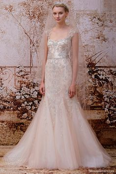monique lhuillier bridal fall 2014 romance blush wedding dress
