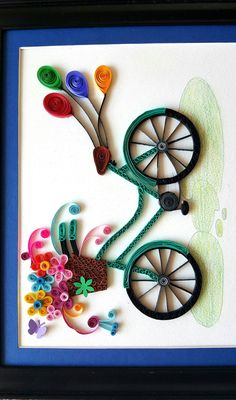 Paper Quilled Bicycle frameBicycle nurseryBicycle by IvyArtWorks Paper Quilling For Beginners, Paper Quilling Tutorial, Paper Quilling Cards, Paper Quilling Jewelry, Origami And Quilling, Paper Quilling Patterns, Quilled Paper Art, Origami Lamp, Quilling Ideas