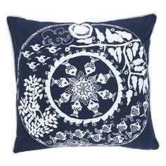 Seaside-chic cotton pillow with a plush feather insert. Showcases a tribal ocean motif in navy and white.   Product: PillowConstruction Material: 100% Cotton cover and down fillColor: NavyFeatures: Insert includedDimensions: 18 x 18
