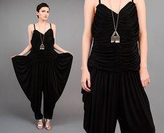 7973a1584851 Vintage 70s 80s Black Jumpsuit Draped Harem Pant Minimal Grecian Disco  Pantsuit Large L