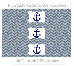 Slate Grey Chevron  Nautical Water Bottle Wrappers