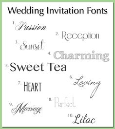 Wedding invitations typefaces for wedding invitations from a