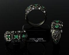 Natural Emerald Ideal Cut Diamond 14kt Black Gold Men's