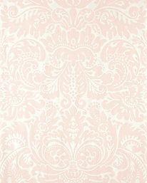 V-RUM U BÄNK Tapet nr 26216 Namn: Silvergate 16 Tillverkare: Farrow & Ball Tryckår: Nyproduktion Storlek: 10 X 0.53 m Beskrivning: Medaljonger, Damastmönster, 1800-tal Bakgrundsfärg: Vit Övriga färger: Rosa