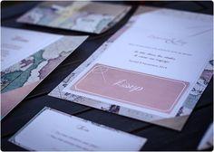 Travel, globetrotter wedding invitation, stationary - planned by Laura Dova Weddings www.lauradovaweddings.com