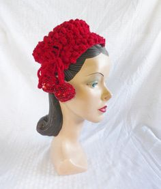 1950's Vintage Red Crochet Hat with Sequins by MyVintageHatShop