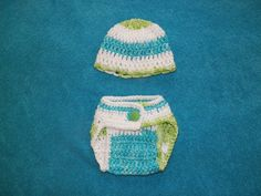 newborn size diaper cover and hat. 100% cotton, waist is adjustable due to stitch used at waistband. Unisex varigated colors.
