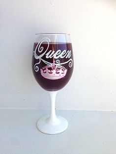 Queen Crown Hand Painted Wine Glass