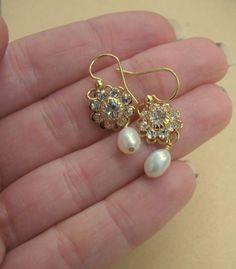 Gold Pearl Drop Earrings Garden Walk by DeniseJewelryDesigns, $17.00