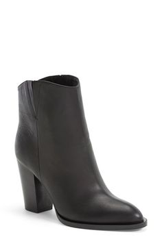 """Vince 'Erving' Bootie (Women) available at #Nordstrom $329.90 (Anniversary Sale)  A street-chic bootie pairs a luxe leather upper with a sculptural block heel, while a padded insole provides all-day comfort.  3 1/4"""" heel; 85mm pitch. 5"""" boot shaft. Pull-on style. Elastic side goring. Leather upper/leather lining and sole. By Vince; made in Italy. Salon Shoes."""