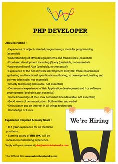 WebMobi hiring PHP Developers! Apply with your resume at jobs@webmobinetworks.com
