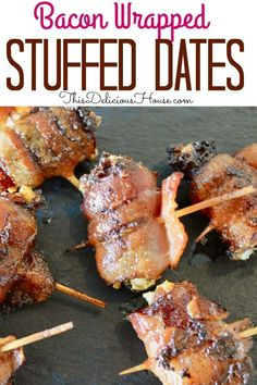 Bacon Wrapped Dates may just be the perfect appetizer. This delicious finger food that's made with just three ingredients is definitely a recipe you don't want to miss! Grilling Recipes, Cooking Recipes, Healthy Recipes, Fast Recipes, Easy Holiday Recipes, Dinner Recipes, Bacon Wrapped Dates, Easy Party Food, Make Ahead Meals
