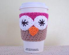 Owl Coffee Cozy / Crochet Cotton Cup Sleeve