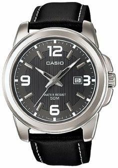 Casio Men's MTP1314L-8AV Black Leather Quartz Watch with Black Dial Casio. $32.88. 48mm Case Diameter. Mineral Crystal. Quartz Movement. 50 Meters / 165 Feet / 5 ATM Water Resistant. Save 27%!