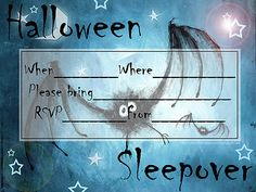 INVITATIONS FOR SLEEPOVER PARTYSo, if you're planning a Halloween party with a difference...maybe this is the invitation for you - because it's perfect for those who are planning a slumber party this Halloween - or maybe you call it a sleepover or a pajama party - anyway - if you'd like to use this invite to invite your friends to your Halloween sleepover party, then click on the picture and it will open nice and big - then -  print however many copies you need.