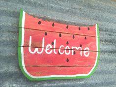 Watermelon - Summer - Summer Watermelon - Summer Door Hanger - Watermelon Party - Summer Decor - Watermelon Birthday - Door Hanger by PaePaesPlace on Etsy https://www.etsy.com/listing/239004585/watermelon-summer-summer-watermelon