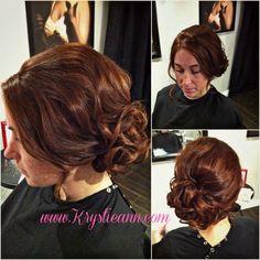 Hair: www.krystieann.com Side bun, updo, wedding hair, bridesmaid hair, bride hair, curls, elegant updo