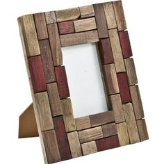 Picture frame with multicolor wood blocks. Product: Picture frame Construction Material: Wood Color: Natural and red Features: Holds one x photo Multi-colored blocks Dimensions: H x W x 1 D Handmade Picture Frames, Wooden Picture Frames, Photo Frames Diy, Photo Frame Ideas, Wooden Frames, Cadre Photo Diy, Brick And Wood, Wood Mosaic, Diy Frame