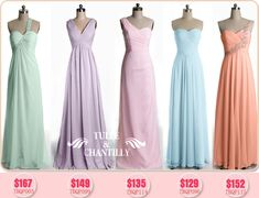 Tulle & Chantilly Floor Length Custommade Chiffon Pastel Bridesmaid Dresses