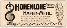 Original-Werbung/Inserat/ Anzeige 1899 - HOHENLOHE HAFER-MEHL  ca. 30 x 90 mm