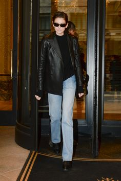 d792a12372f Model Kaia Gerber wears a Polo Ralph Lauren double-breasted leather blazer  while in Milan