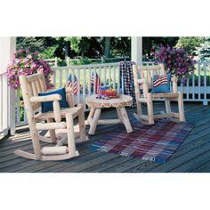 rustic porches   Rustic Natural Cedar Furniture Company Cedar Log Porch Rocking Chair ...