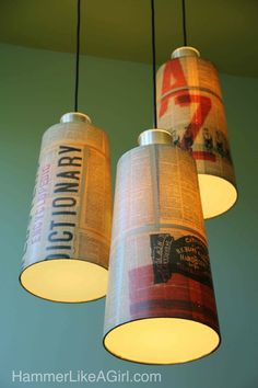 Cover a lamp shade with dictionary pages tutorial.