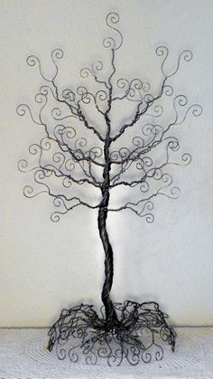 Large wire tree stand  jewelry organizer sculpture by ivysgembox, $67.00
