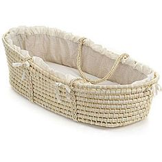 Natural Baby Moses Basket with Ecru Gingham Bedding | Overstock.com Shopping - Big Discounts on Badger Basket Moses Baskets