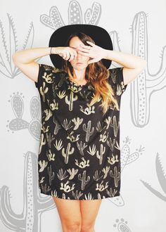 Golden Cactus - Big Tee tunic top - hand printed tshirt - by Simka Sol® I think I'd want to wear trousers though ;)