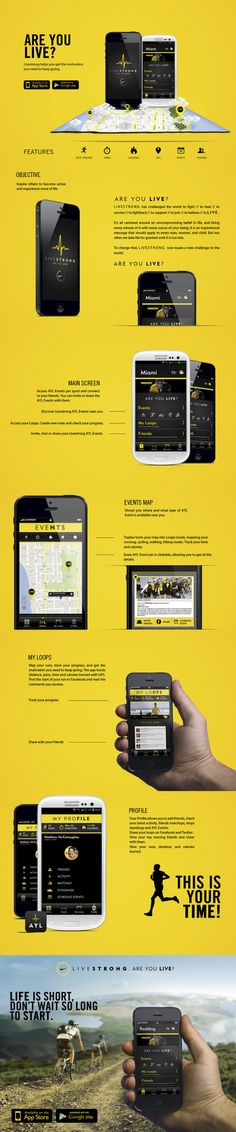 Livestrong // Are You Live? by Andres Schiling, via Behance *** Livestrong is an inspirational brand as a leader in the fight agaisnt cancer. How can the brand inspire others to appreciate life regardless of their connection to cancer? Mobile Ui Design, App Ui Design, User Interface Design, Apps, Site Vitrine, Applications Mobiles, Creation Site, Ui Design Inspiration, Application Design